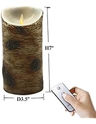 17,8cm sans flamme LED Moving Mèche Bougie–Cire véritable et véritable Motion–Bougie vacillante avec télécommande on/off–réaliste Bouleau