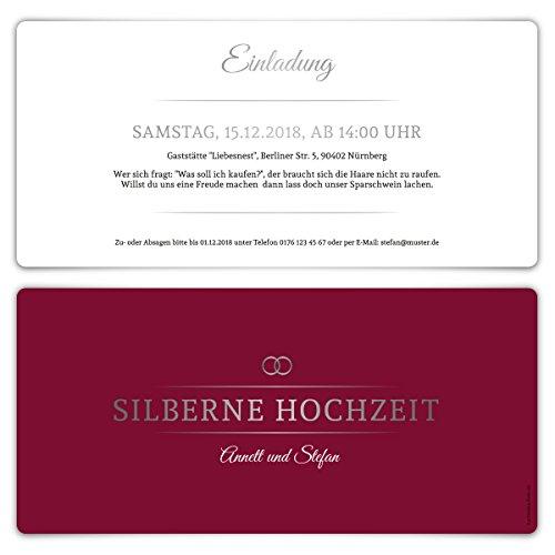 20 x Silberne Hochzeit Einladungskarten Silberhochzeit Einladungen 25 Jahre - Burgunder Silber