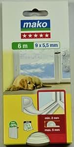 Mako Joint d'étanchéité à profil creux en P en mousse Durée de vie 6 à 8 ans pour fentes de 2 à 5 mm Blanc 9 x 5,5 mm Longueur 6 m