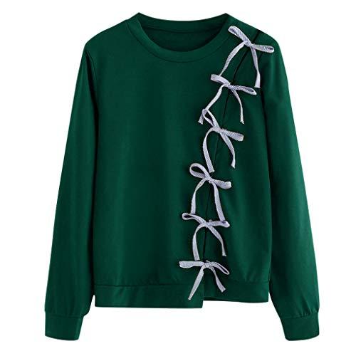 SHUBIHU Frauen Tops Herbst Langarm Hoodie Sweatshirt Buchstaben Kapuzenpullover Bluse (Grün, XL) -