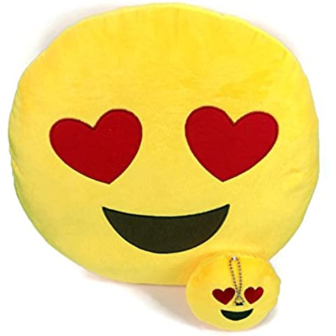 Emoji Cuscino Free portachiavi catena e morbido denaro Portafoglio Portamonete Smiley Fake Poop Throw cuscino emoticon Cute a forma di peluche Love Giallo Rotondo Marrone Set Regalo Grande giocattolo divertente Merchandise – Accessori tutto per bambini prime (Poop) Heart 2 Set