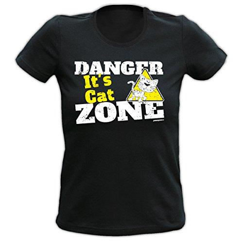 Damen T-Shirt, Funshirt, Girlie-Shirt, witziges Geschenk zum Geburtstag, Weihnachten, Danger it´s Cat Zone Schwarz