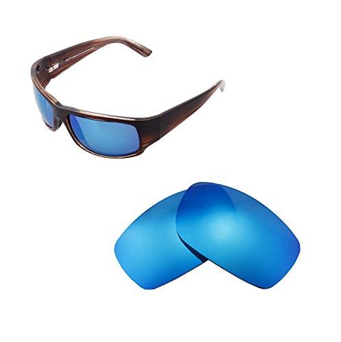 Walleva Ersatzgläser für Maui Jim World Cup Sonnenbrille - Mehrfache Optionen (Eisblau beschichtet - polarisiert)