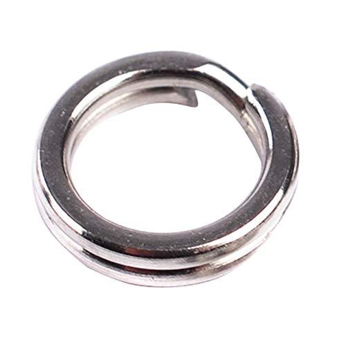 qingsb Doppel-Schlaufenspaltring, Edelstahl, offen, Karpfenwerkzeug, Angelzubehör, 100 Stück, Silver 5 -