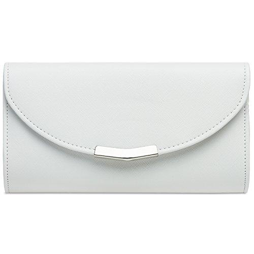 Clutch-taschen Für Frauen (CASPAR TA360 elegante Damen Envelope Clutch Tasche / Abendtasche mit langer Kette, Farbe:weiss;Größe:One Size)