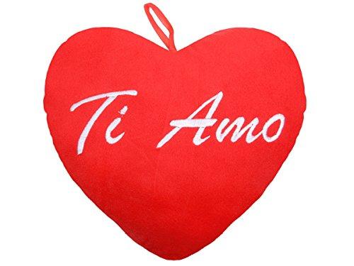 Cuscino decorativo peluche a forma di un grande cuore XXL (62-6095) con scritta Ti amo 35 x 30 x 70 cm divano morbido decorazione idea regalo romantico san valentino amore
