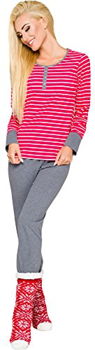 Merry Style Damen Schlafanzug 2120 (Rot-K1, L)