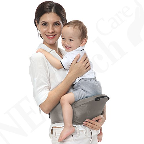 Baby Carrier Hip Seat 100% Cotton - Pocket & Removable Hoodie/Head Support - Adjustable & Breathable - Neotech Care Brand - for Infant, Child, Toddler - Grey  Neotech Care