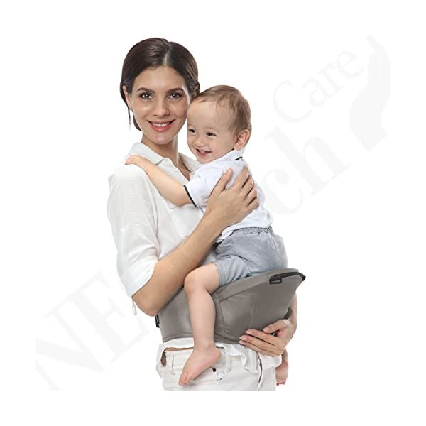 Baby Carrier Hip Seat 100% Cotton - Pocket & Removable Hoodie/Head Support - Adjustable & Breathable - Neotech Care Brand - for Infant, Child, Toddler - Grey Neotech Care 4 WAYS TO CARRY BABY! 1) only hip seat facing you! 2) only hip seat facing outside world 3) hip seat + baby wrapper facing you 4) hip seat + baby wrapper facing outside world! REMOVABLE HEAD SUPPORT! 100% COTTON outer fabric - Comfortable & Breathable! 4