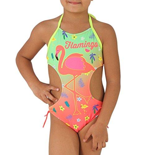 Kinder Badeanzug Flamingo Neon Bunt Neckholder Mädchen Strand Bikini Palme Blume 9513 (Coral, 140/146) (Monokini Kinder)