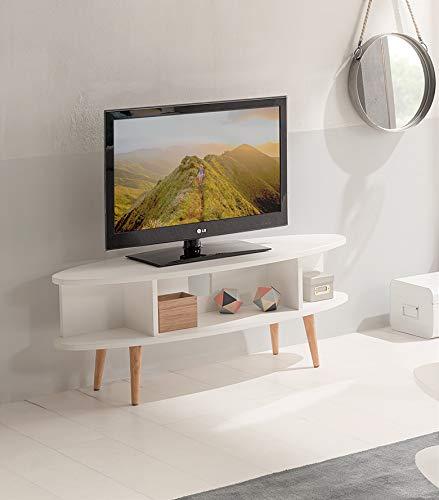 Hogar24 Table TV, Meuble TV Salon Design Vintage avec étagères Finition Bois MDF laqué Blanc et Pieds Bois Massif Naturel Dimensions : 120 x 40 x 49 cm.