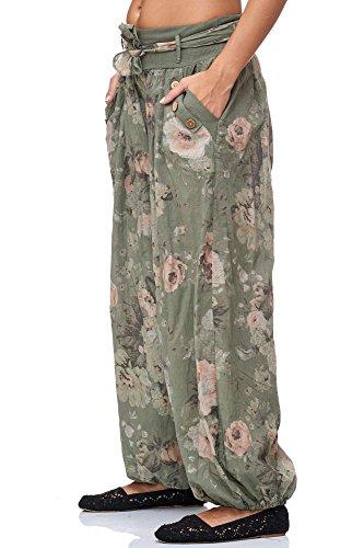 JillyMode Wunderschöne Leichte Haremshose aus Baumwolle in Viele Muster Gr.34-Gr.42 OneSize (H132-Khakigrün) - 2