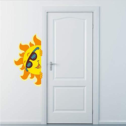 Cartoon Sonne Mit Sonnenbrille Wandaufkleber Lustige Abnehmbare PVC Aufkleber DIY Persönlichkeit Tapete Für Kinderzimmer Hause Styling Zubehör