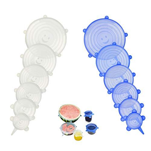Seelok coperchi in silicone stretch da 12 pezzi varie dimensioni conservazione alimenti coperchi saver per coperchi per ciotole, piatti, barattoli, tazze, tazze e contenitori