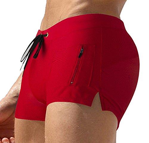 TONLEN Herren Shorts Badehosen Jungen Bademode Sport Shorts mit Reißverschluss Tasche Rot 1 XL