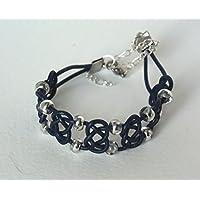 bracciale in corde di cuoio e perle - blu e argento