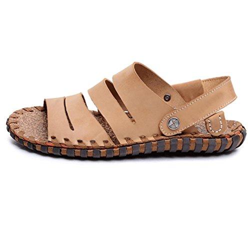 SHANGXIAN Herren handgemachte Leder Fischer Sandale (zwei Arten von Tees) light brown