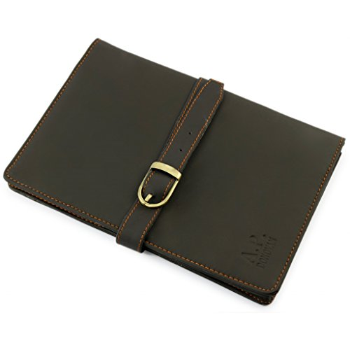 A.P. Donovan - iPad mini 2/3/4 Custodia Leather Organizer - Custodia Custodia in pelle - Carta di credito Portafoglio - Brown