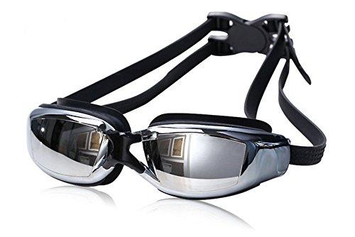 Vikenner Neu Markenbrillen Schwimmbrille Damen Herren, lustige Fisch-Stil lecksicher Anti-Fog & UV Schutz & Schnell zu verstellen Silikon Unisex Erwachsener Schwimmbrille Schwarz
