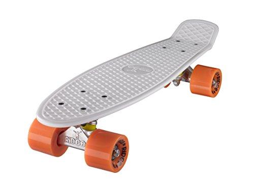 Ridge Skateboard 55 cm Mini Cruiser Retro Stil In M Rollen Komplett U Fertig Montiert Weiss Orange (Speed-cruiser-fahrrad-teile Ein)