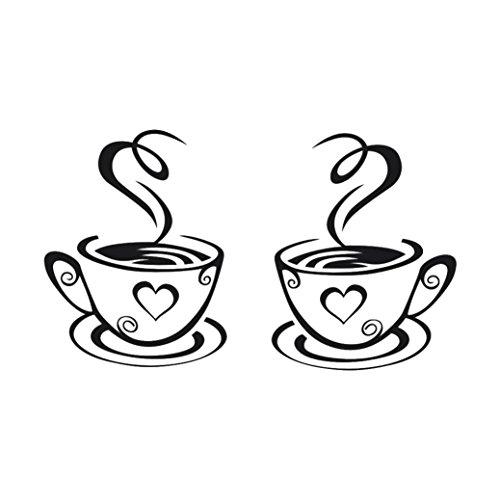 Igemy Neu Ankunft Schön Entwurf Kaffee Tassen Tee Kaffee Kunst Abziehbild Vinyl Mauer Aufkleber Küche Restaurant Pub Dekor (B)