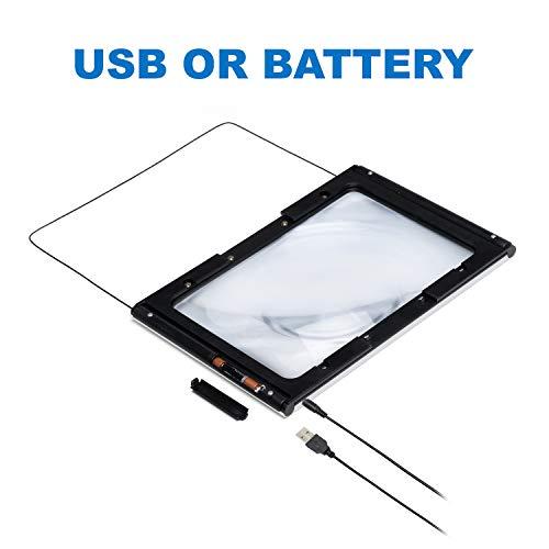 Fancii 2x große Leselupe mit LED Licht, A4 Vollbild Lupe für die Nutzung mit Handgriff, freihändig, mit Ständer oder Halsschlaufe - Lesehilfe für Senioren und zum Lesen, USB- und Batteriebetrieb - 7