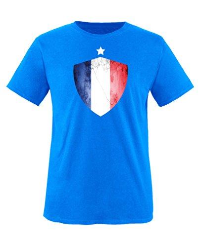 Comedy Shirts - Frankreich Trikot - Wappen: Groß - Wunsch - Kinder T-Shirt - Royalblau/Weiss Gr. 134-146