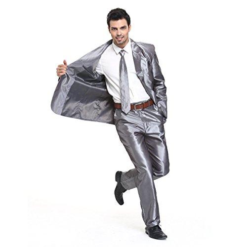 YOU LOOK UGLY TODAY Modisch Normaler Schnitt Herren Party Anzug Weihnachten Kostüme Festliche Anzüge Party Suits einheitliche Farbe -Grau/L (Farbe Grau, Herren Anzug)