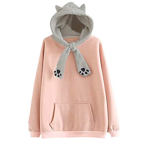 MERICAL Casual Langarm Kitty Cat Claw Print Tasche Hoodie Damen Oversize Bluse Top ()