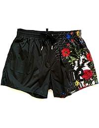 86ad266462 DSQUARED Costume da Bagno Uomo Boxer Corto D7B642700.200 Floral Print Swim  Short Nero 48