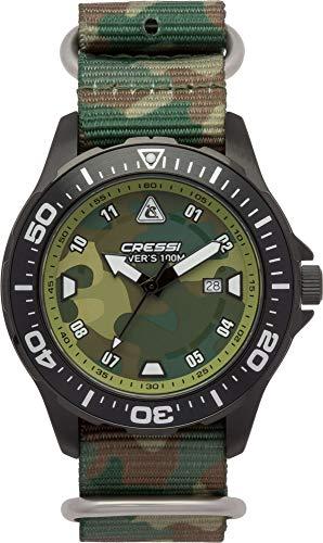 Cressi Manta Watch Reloj Submarino, Negro Correa Tejida Verde Camou, Uni