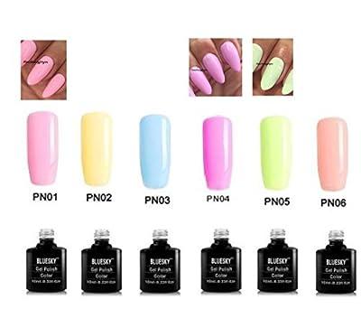 Bluesky Pastel Neon Nail Gel Polish UV LED Soak Off 10ml, Choice of Colours, PLUS 2 Homebeautyforyou Shine Wipes per gel / Price £6.50 each gel