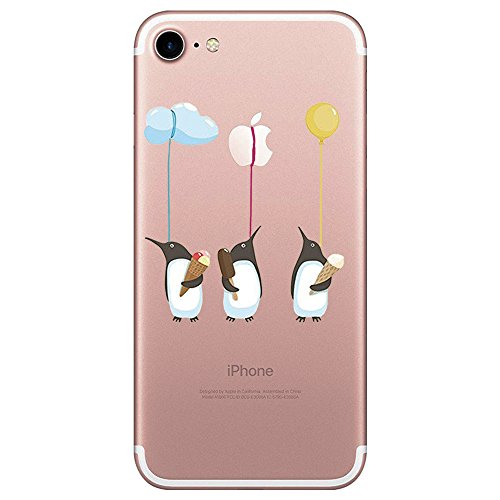 iPhone 7/8 Hülle, transparentes TPU Case Silikon der Tiere Backcover Handyhülle kreatives Design Panda Muster bedecken zurück für Apple iPhone 8/7 Case Cover (Pinguin)