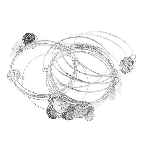 B Baosity Böhmischen Münze Quaste Armband Armreif Armschmuck Frauen Bauchtanz Kostüm Zubehör - Silber