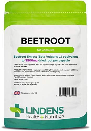 Lindens Remolacha superresistencia 3500 mg en cápsulas   50 Paquete   Una fuente de nitratos dietéticos en una cápsula de liberación rápida y fácil de tragar