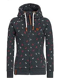 4045c236580e39 EwigYou Damen Baumwolle Kapuzenjacke Hoodie mit Fleece-Innenseite  Sweatshirt Herbst Winter Große Größen Übergangsjacke Sweatjacke