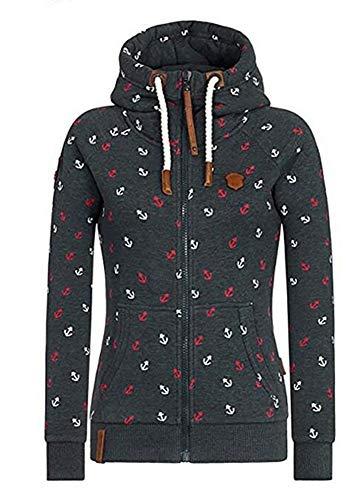 EwigYou Damen Baumwolle Kapuzenjacke Hoodie mit Fleece-Innenseite Sweatshirt Herbst Winter Große Größen Übergangsjacke Sweatjacke College Hoodie Sweatshirt