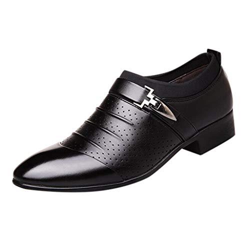 spitze Schuhe, klassischer Business-Halbschuh aus Leder mit Gummisohle,Atmungsaktiv,Gemütlich Schwarz, weiß, braun 38-48 ()