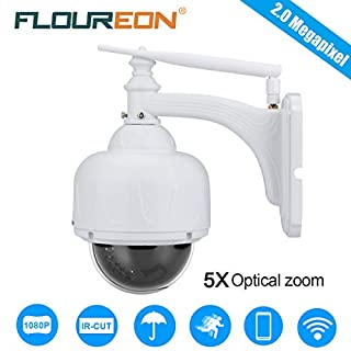 FLOUREON PTZ Wifi IP Camera 1080P HD H.264 Wireless Waterproof CCTV Security Dome Camera with 4X ZOOM Auto-Focus, 355° Pan/ 90° Tilt, IR-CUT Night Vision, Motion Detection, Micro SD Card Slot