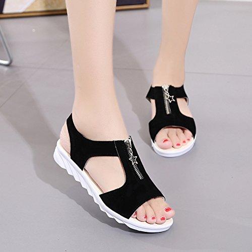 XY&GKChaussures plates des femmes avec les étudiants d'été Flat Sandals Toe All-Match Slip Femme enceinte 37 black
