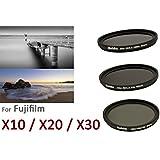 PROFOX / HAIDA Filtres fins à densité neutre pour Fuji X10/X20 / Pas de vis 40 mm / Comprend 3 filtres ND8x/ND64x/ND1000x et bouchon d'objectif