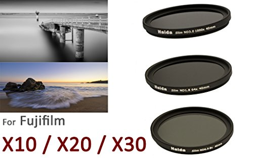 Slim Neutral Graufilter Set für Fuji X10 / X20 / X30 - Spezialgewinde 40mm - Bestehend aus ND8x, ND64x, ND1000x Filtern und Objektivdeckel