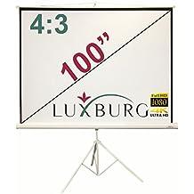 """Luxburg® Pantalla de proyección con trípode 203 x 152 cm cm (Diagonal aprox. 100"""" pulgadas / 254 cm) Pantalla trípode para proyector alta definición Full HD 3D, superficie en blanco mate - Modelo 2016"""