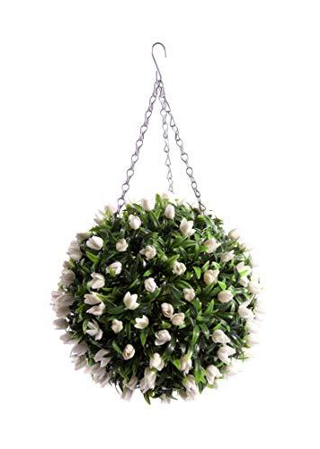 Best Artificial (TM) 30 cm Blanc ivoire Tulipe Fleur Boule Lush longue Feuille topiaire Herbe