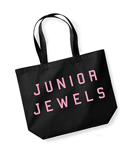 Junior Jewels - Large Canvas Fun Slogan Tote Bag Black/pink