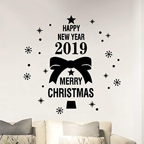 Anno nuovo merry christmas wall sticker casa negozio windows decalcomanie decor-2019 decor glass tea shop home decal murale-merry tree campane stickers soggiorno store window cartoon (nero, 50 x 50cm)