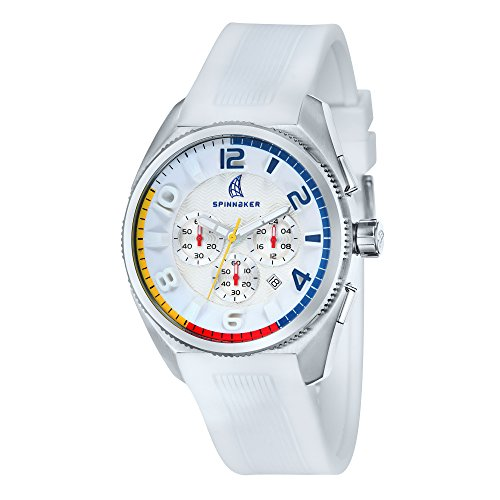 Spinnaker Reef Men's Quartz Watch with Silver White Dial Chronograph Display on White Silicon Band SP-5022-02