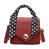 HCFKJ Tasche, Frauen tragbare kleine quadratische Tasche Schal Retro Wild Wide Shoulder Strap Bag (RD)
