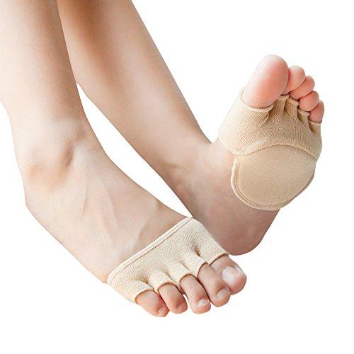 Fatalom Zehenschutzsocken, hautfarben, gepolsterte Socken, für Damen, ohne Zehenfutter, Socken für Sandalen, versteckte Zehen, Keine Show-Socken mit Anti-Rutsch-Fersen-Griff