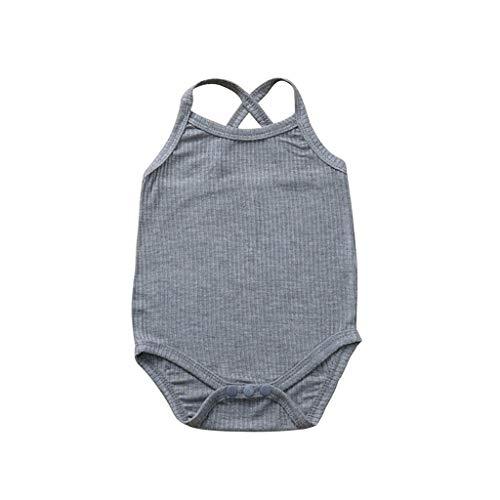 Livoral Neugeborene Baby Overall, Kleiner Junge Das Mädchen Einfarbig Overall Kleidung Outfit(Grau,18-24 Monate)
